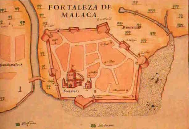 1630 map of the Portuguese fort and the city of Malacca, India