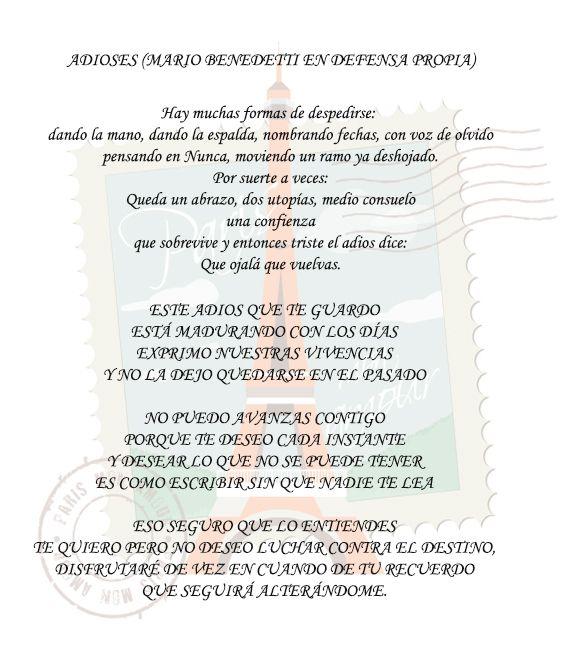 Mario Benedetti Adioses Decir No Sobreviví Pensando En Ti
