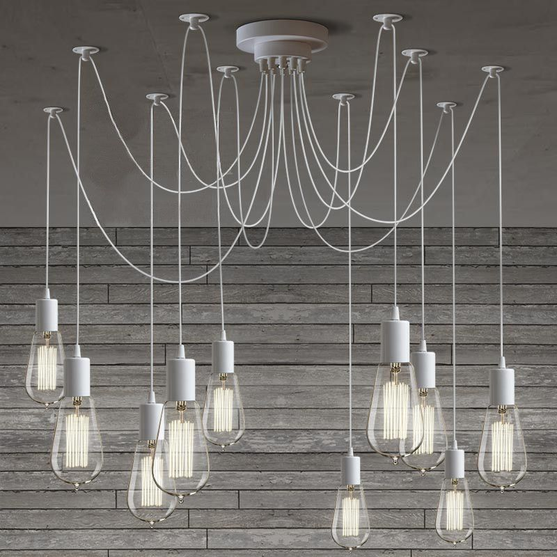 10 light cable chandelier in white ceiling bulbs and cable 10 light cable chandelier in white 40w bulb chandelier ceiling light aloadofball Image collections