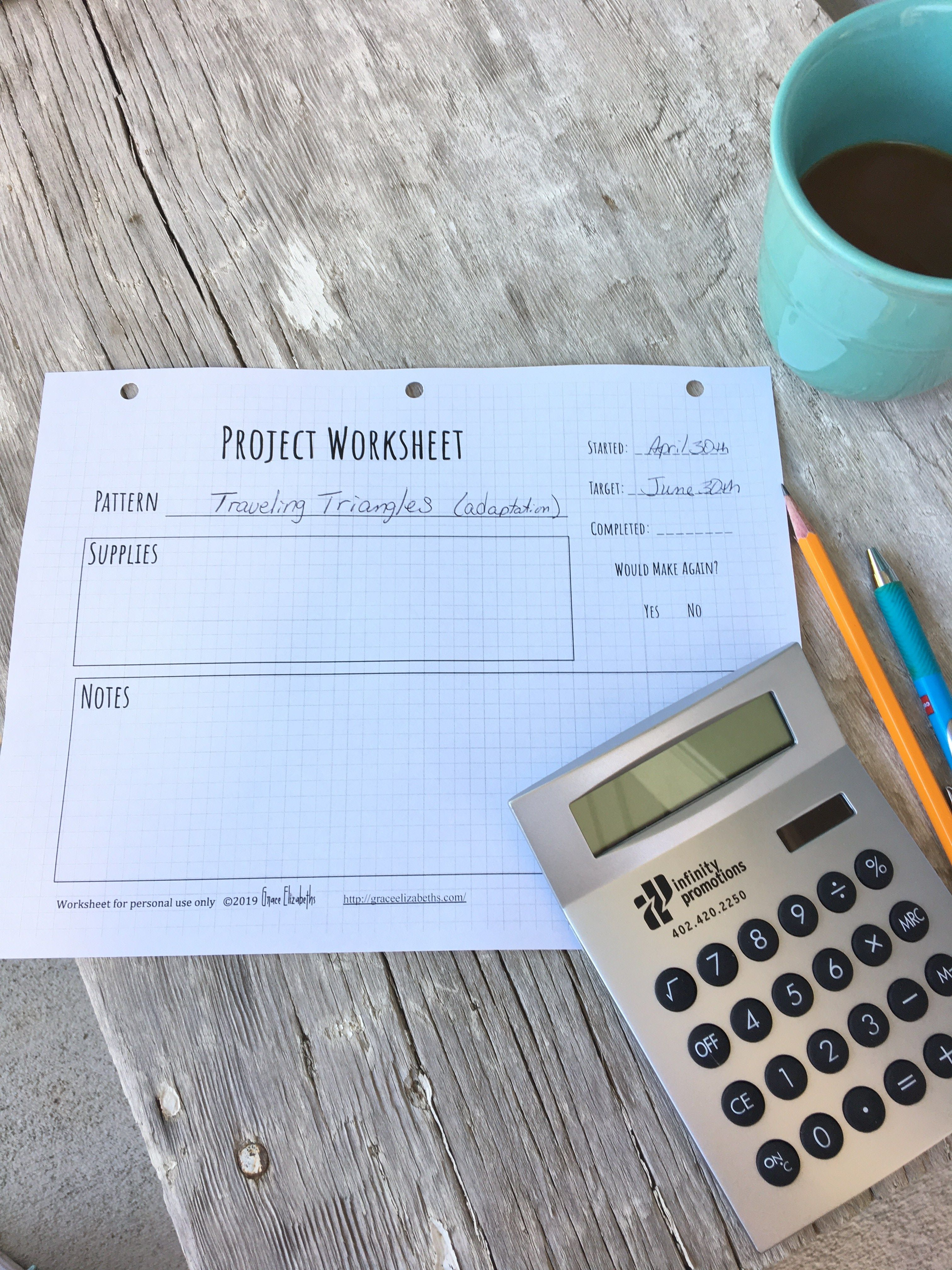 Free Project Worksheet With Images