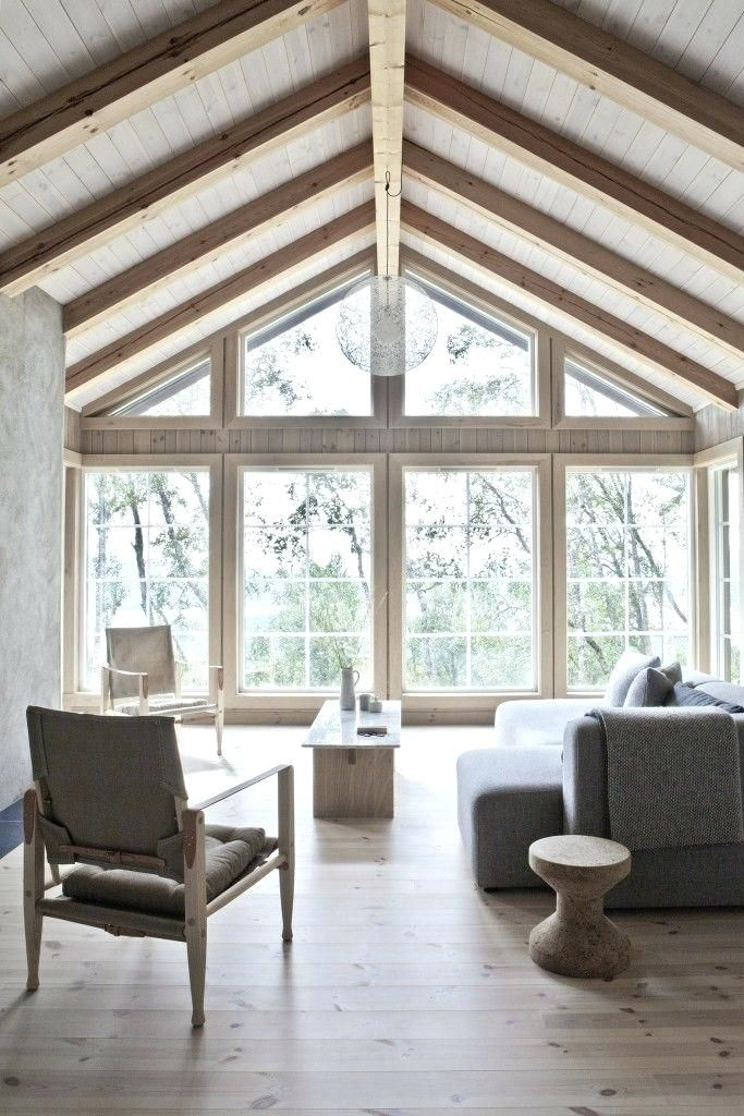 Scandinavian Cabin In The Woods Wood And Marble Solid Table In A Beautiful Wooden House With A Interior Scand House Interior Scandinavian Cabin Cabin Interiors