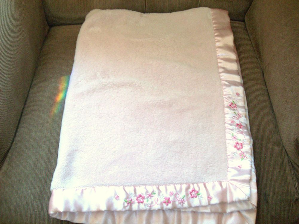 Carter S Child Of Mine Pink Velour Soft Baby Blanket Satin Trim