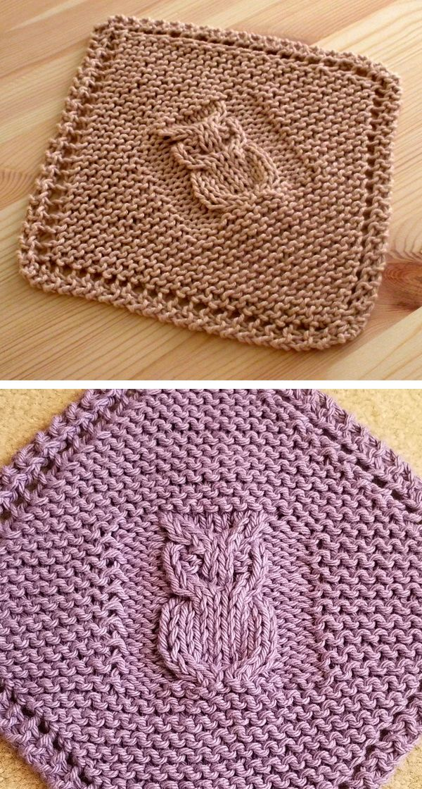 Free Knitting Pattern for Diagonal Owl Dishcloth - Cable owl motif ...