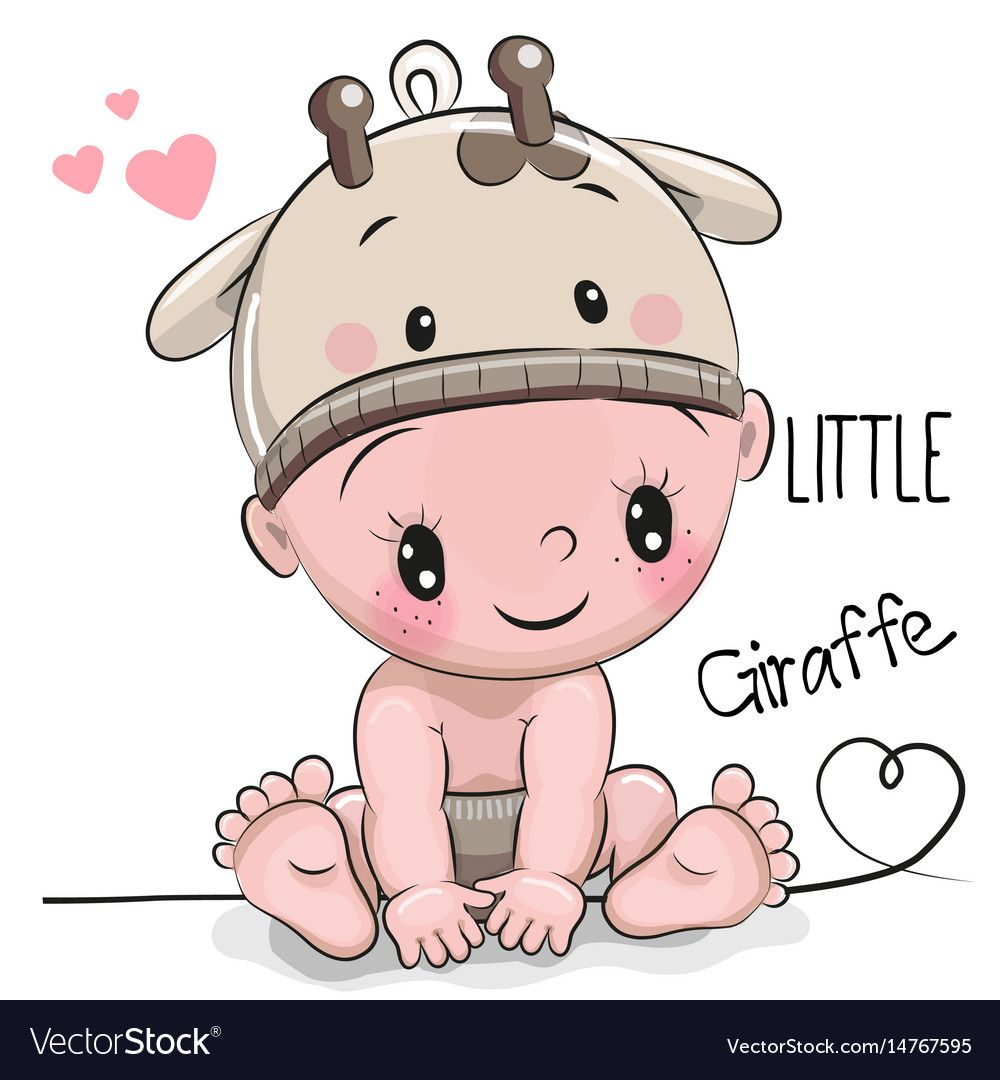 Cute Cartoon Baby Boy In A Giraffe Hat On A White Background Download A Free Preview Or High Quality Adobe Illustrat Baby Cartoon Safari Baby Png Cute Cartoon