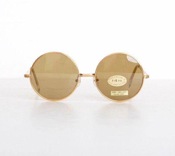 Vintage 60s Round Gold Janis Joplin by twinheartsvintage on Etsy, $60.00