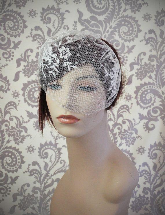 Lace Birdcage Veil W Polka Dots Satin By Januaryrosebridal
