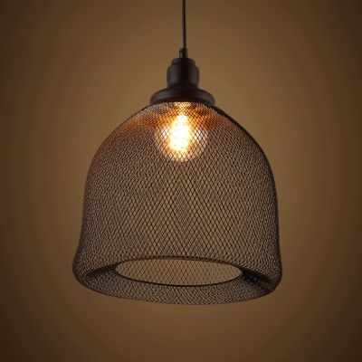 Industrial Rustic Metal Mesh Pendant Light Ceiling Lamp Shade Vintage Matte Black Pendant L Industrial Pendant Lights Foyer Pendant Lighting Industrial Pendant