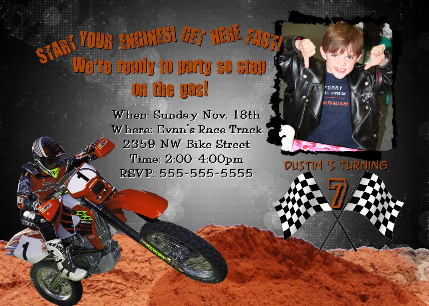 Motocross Invitation Birthday Party Card PERSONALIZED Design BOY – Motocross Birthday Cards