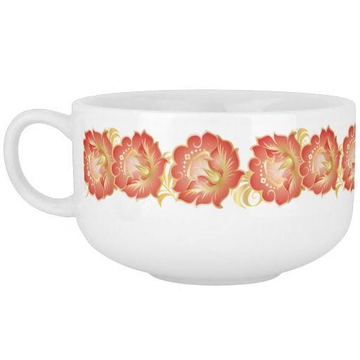 07154867f1d Large Abstract Orange Gold Flower Wreath Soup Mug   Zazzle.com   For ...