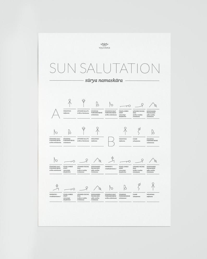 Sun Salutation A B Printable Sequence PDF Chart Yoga Poses Poster ...