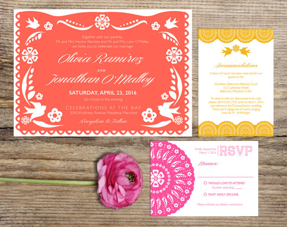 Papel Picado Fiesta Wedding Invitation Suite, Custom Printable Card ...