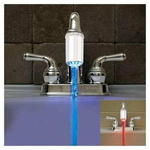 Temperature Sensor Glow Shower LED Light Water Faucet Tap. My boss found this and told me to pin it. He likes my Pinterest, he just won't admit it