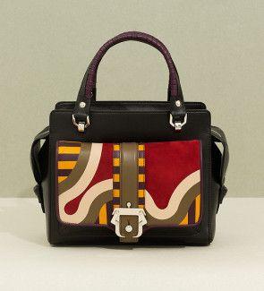 Handbag in nappa with multicoloured suede inlay and polished silver metal buckle.Paula Cademartori FW14