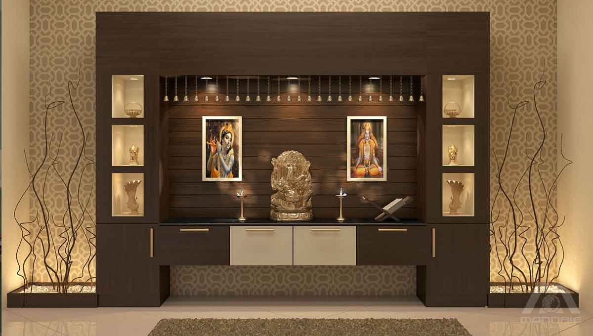Awesome Pooja Room Design Ideas Part - 13: Go Through Pooja Room Designs In Hall And Create A Nice Pooja Space In Your  House. Having A Pooja Room In Dining Hall Is A Great Ideas.