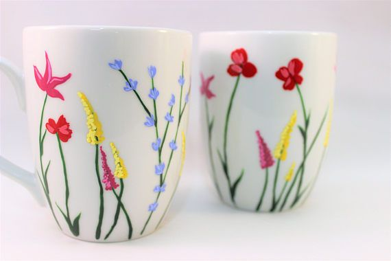 Wild flower coffee mugs, hand painted mugs with wild flowers, set of 2