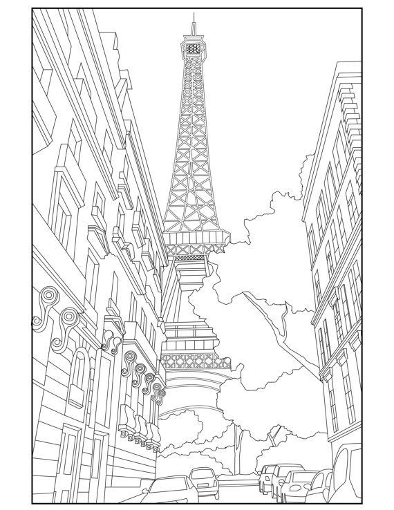 Eiffel Tower Adult Coloring Page -- Coloring Paris France - Travel ...