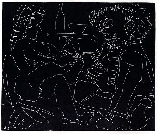 PABLO PICASSO, Le Peintre et son Modele (B.1194), hand-signed linocut, image size: 31 x 35 inches. for more information regarding Picasso contact Mark at 203-257-5881.