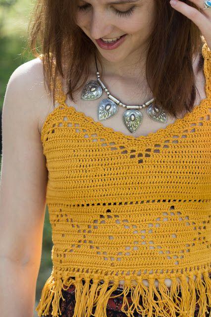 Diy Gehäkeltes Boho Crop Top Mit Fransen Crochet Pinterest