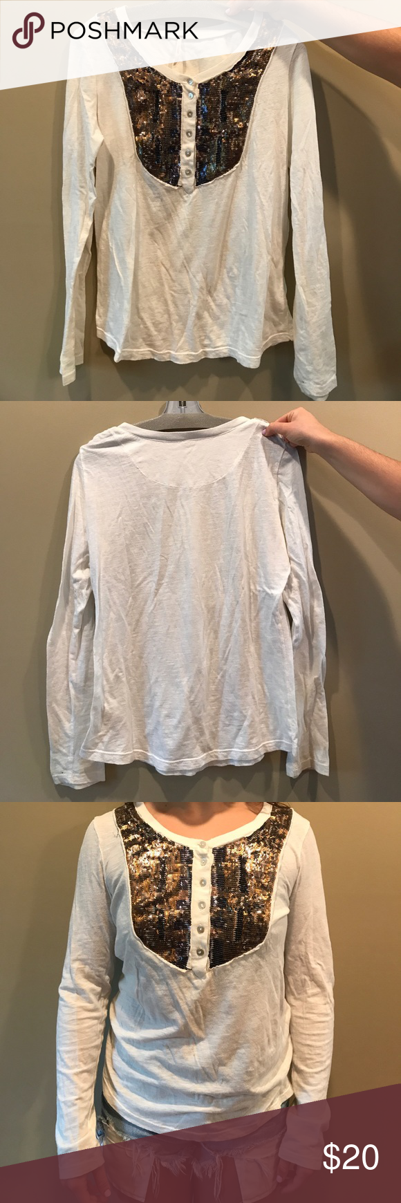 Free People long sleeve White shirt with sequins on the front! Free People Free People Tops Tees - Long Sleeve