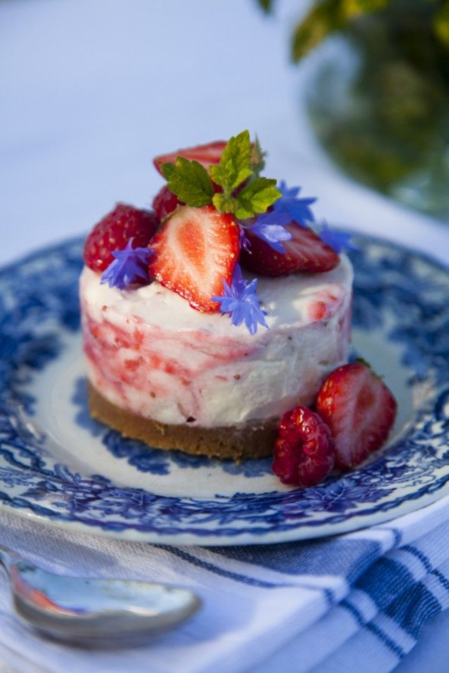 Mini Strawberry & White Chocolate Cheesecakes...A perfect summer dessert which celebrates summer berries when they are at their finest. | DonalSkehan.com