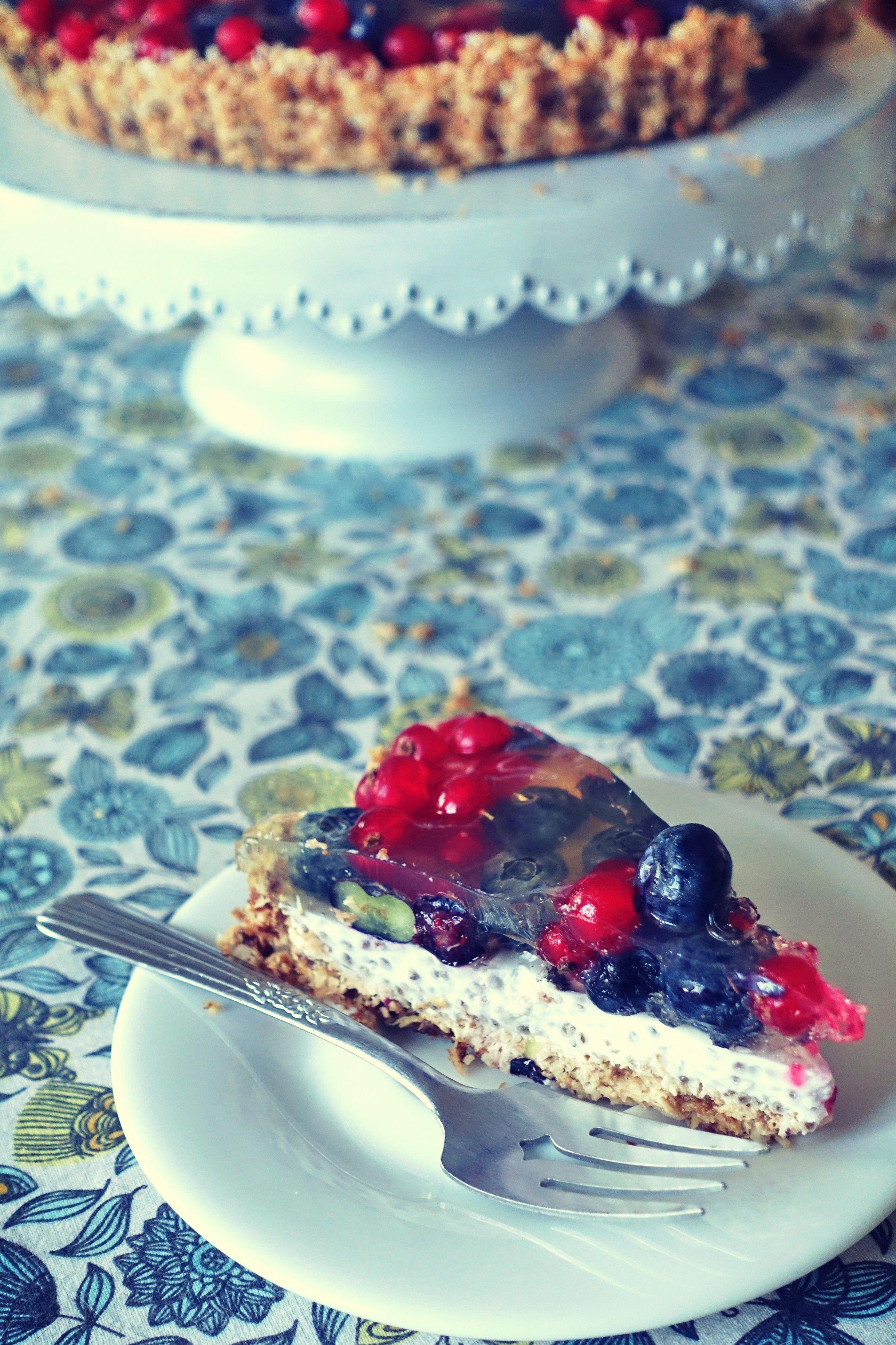Surowa Tarta Kokosowa Z Chia Owocami I Galaretką Kuchnia