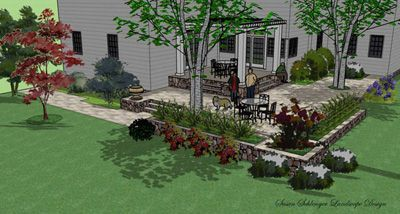 Here Is A Patio Design In 3d Using Sketchup Sketchup Is Free And Easy Read More About I With Images Landscape Design Garden Design Software Backyard Landscaping Designs