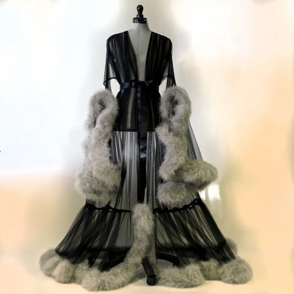Black Grey Cassandra Dressing Gown ($500) ❤ liked on Polyvore ...