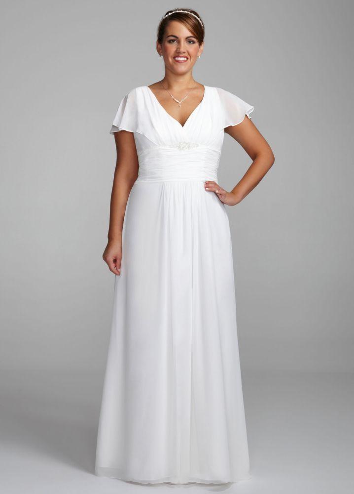 f269a6ec20c1 As-Is Flutter Sleeve Plus Size Wedding Dress Style AI13012469 ...