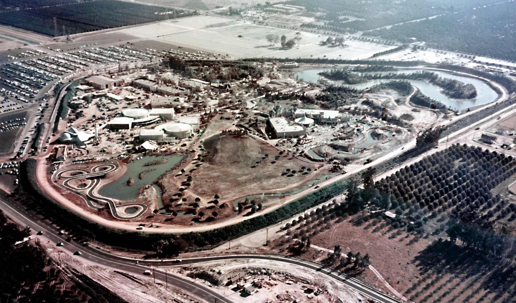 Aerial shot of Disneyland, facing south, taken in 1955.  (From WaltDisneyLand on Facebook)