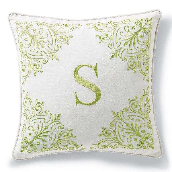 Monogrammed Outdoor Pillow In Natural/Gingko