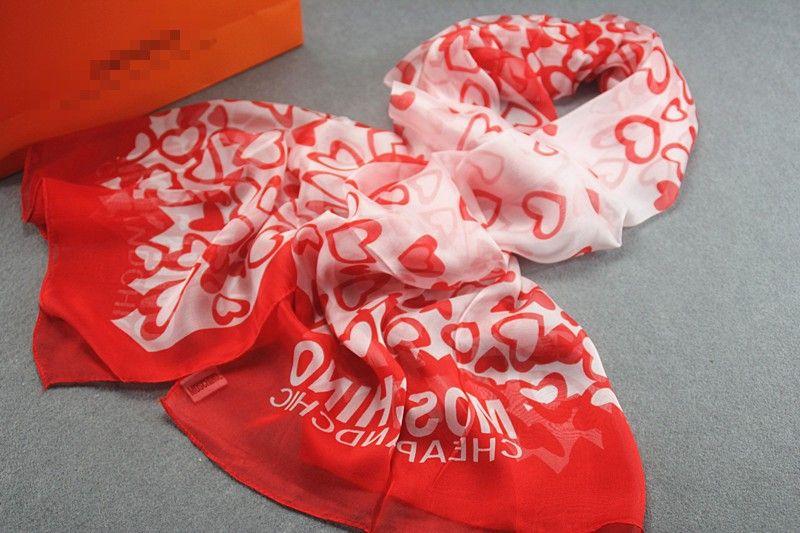 Hearts print 100% genuine silk scarf $15