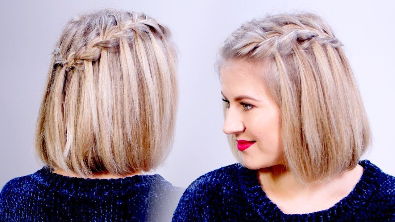 How To Waterfall Braid Crown Hairstyle For Short Hair Milabu