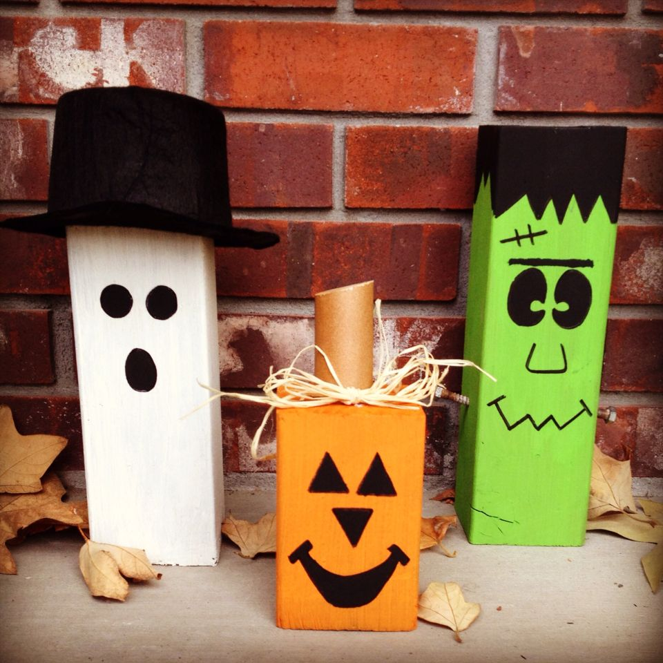 8x8 wood block Halloween decorations. Ghost, pumpkin, and