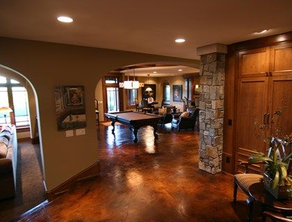 Stained Concrete Basement Bar Flooring Mud Rooms