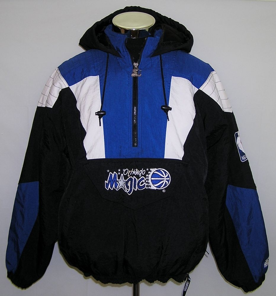 5bc19b1d4d9 Orlando Magic NBA Basketball Men s Starter Black Parka Hooded Jacket Coat  Size L  Starter  OrlandoMagic