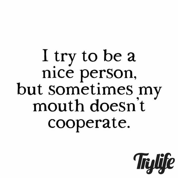 I try to be a nice person. But sometimes my mouth doesn\'t cooperate ...