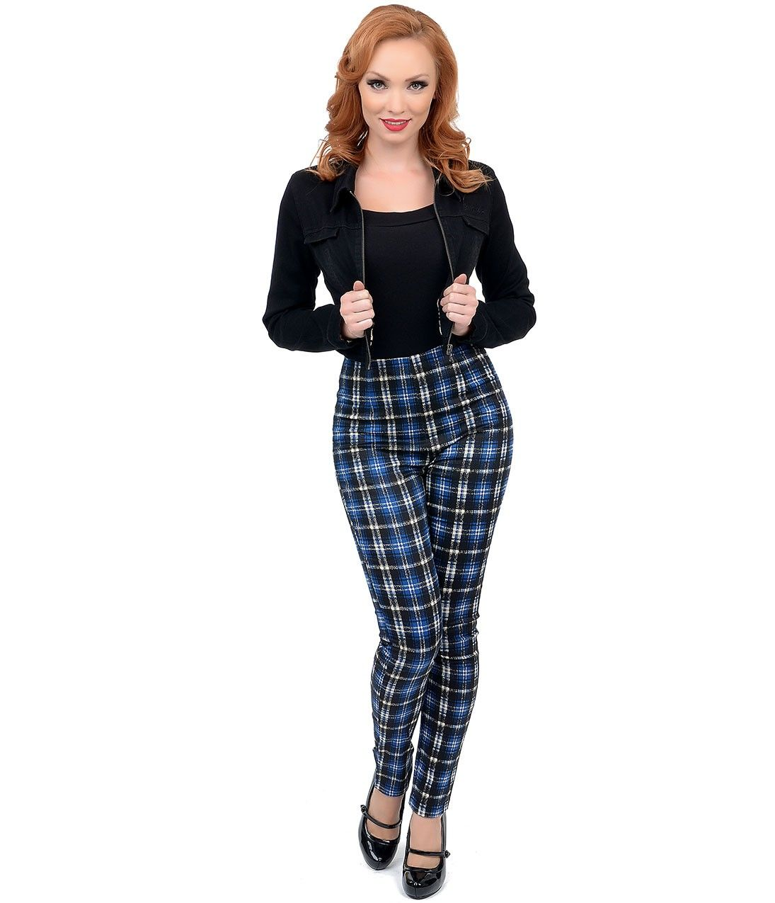 Blue & Black High Waisted Plaid Pants #uniquevintage | This ...