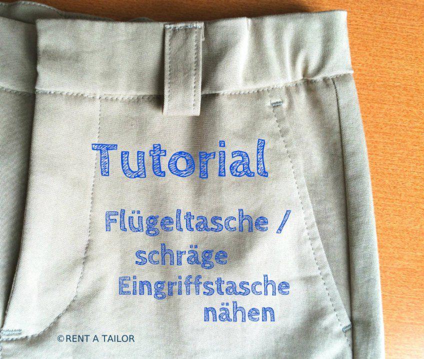 Wie nähen ich eine Flügeltasche oder schräge Eingriffstasche? Tutorial Bei rentatailor.de