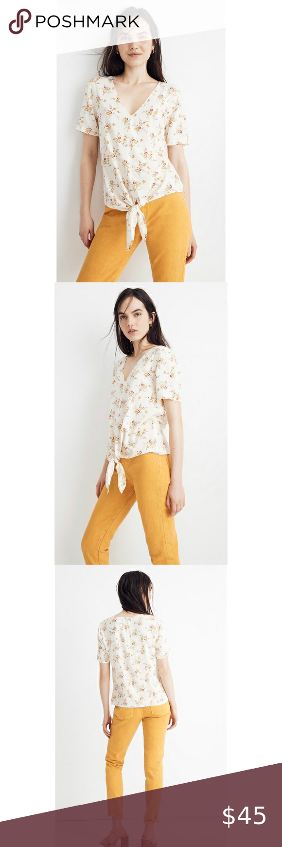 Madewell Novel Tie-Front Top Windowbox Floral Chec