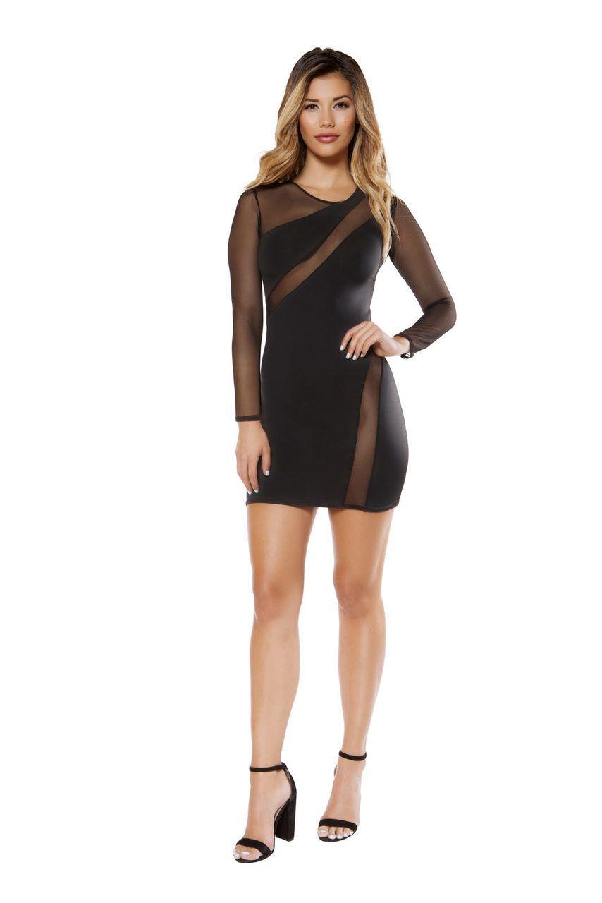 Sexy Roma Black Party Clubwear Cocktail Sheer Mesh Long Sleeve Mini ...