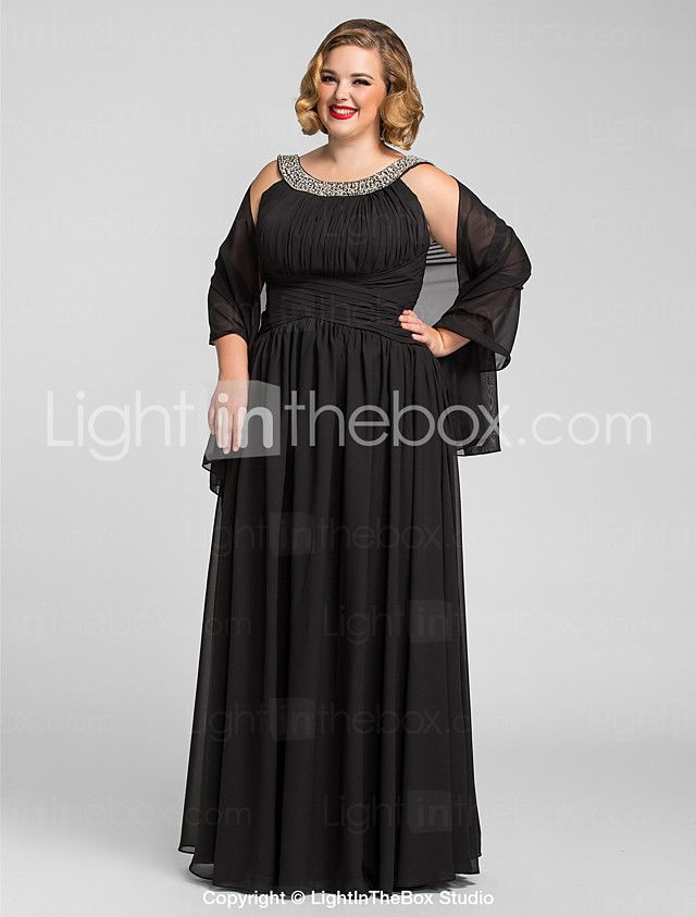 A-Line Jewel Neck Floor Length Chiffon Prom Formal Evening Military ...
