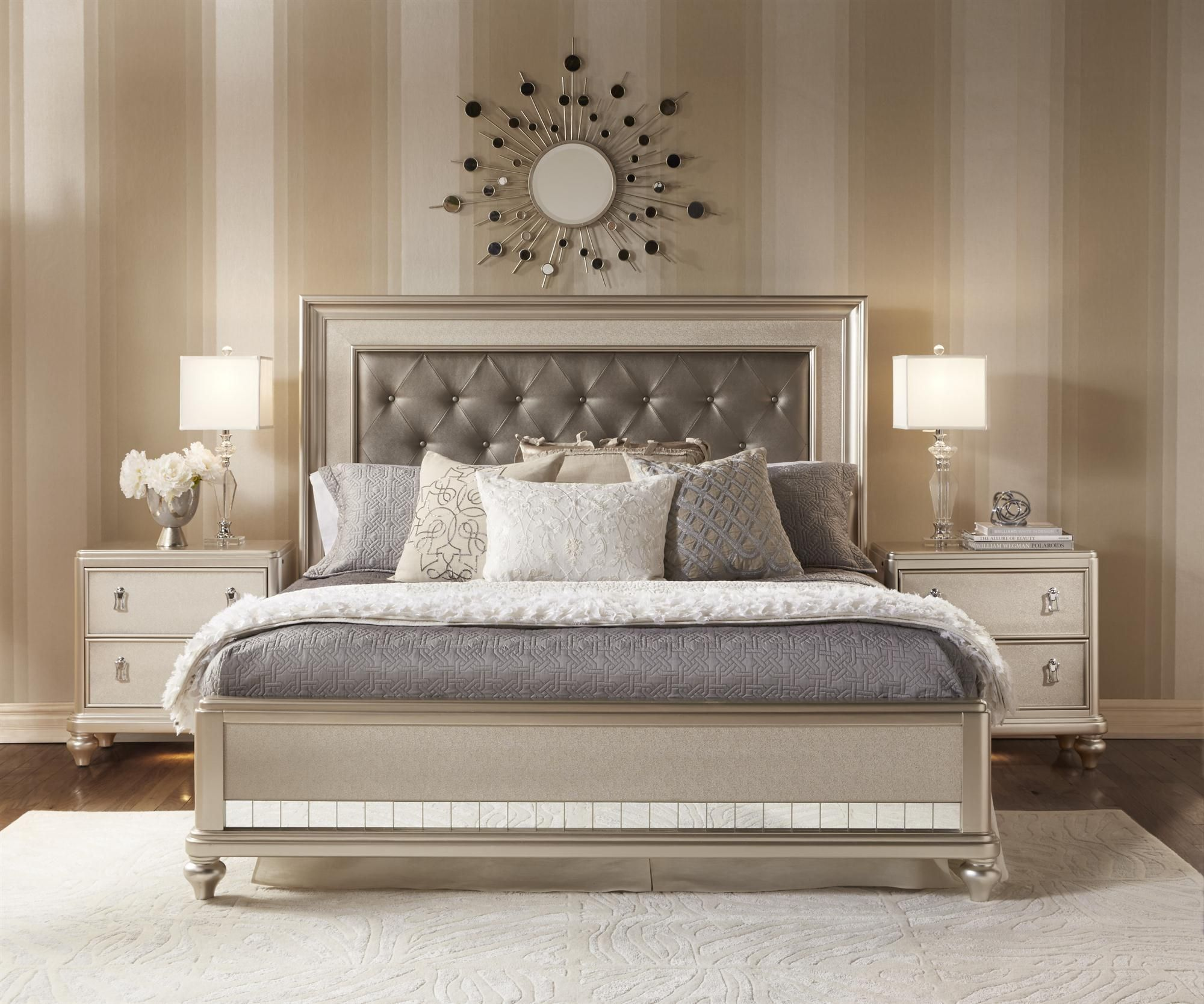 Diva queen panel bed w tufted headboard by samuel for Master bedroom sets queen