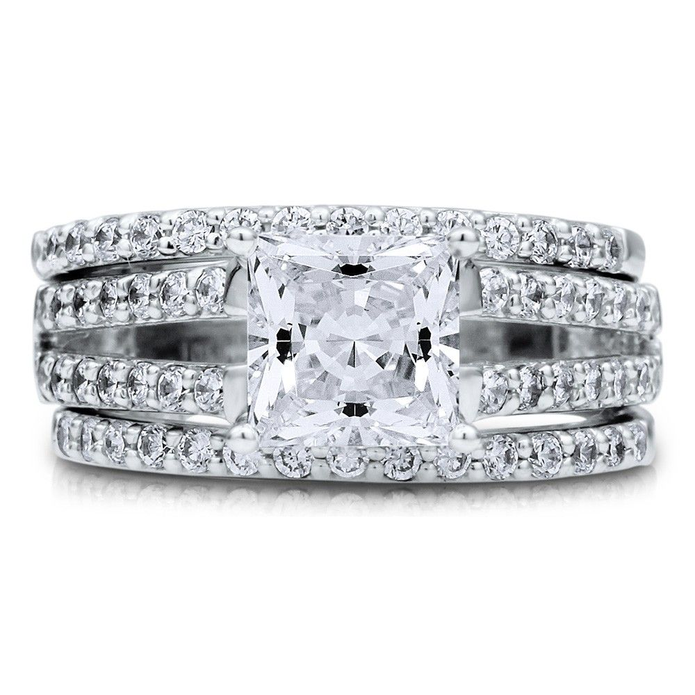 Princess Cubic Zirconia Cz Sterling Silver Bridal Ring Set Ct Nickel Free Engagement Wedding Size 9 This Gorgeous Is Made Of