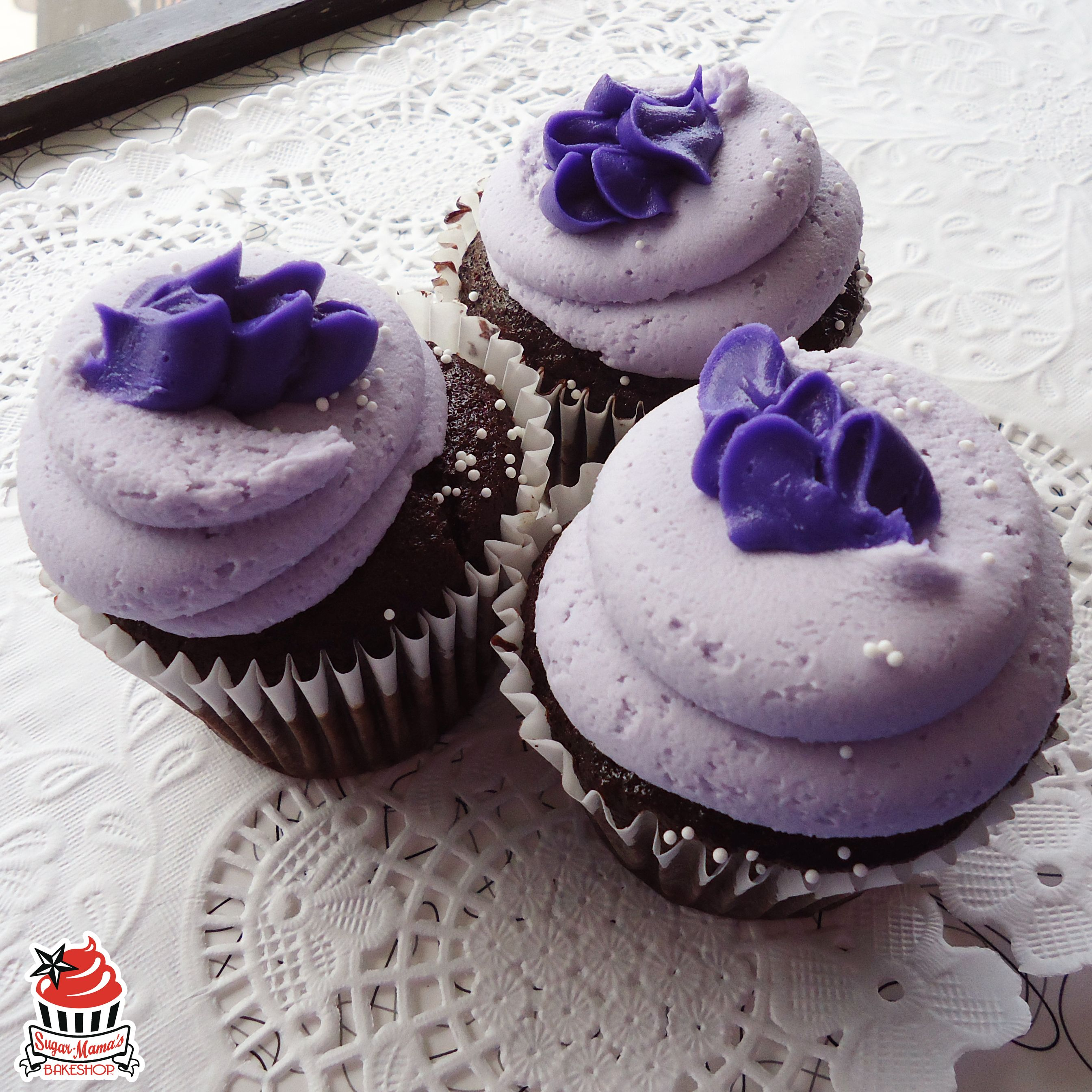 May Special, Mama Loves You: rich and moist chocolate cake topped with lovely lavender buttercream and topped with an iced lavender flower.
