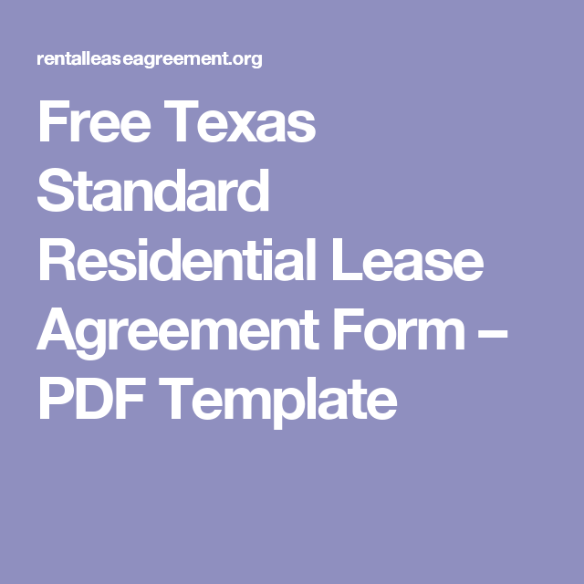 Free Texas Standard Residential Lease Agreement Form  Pdf