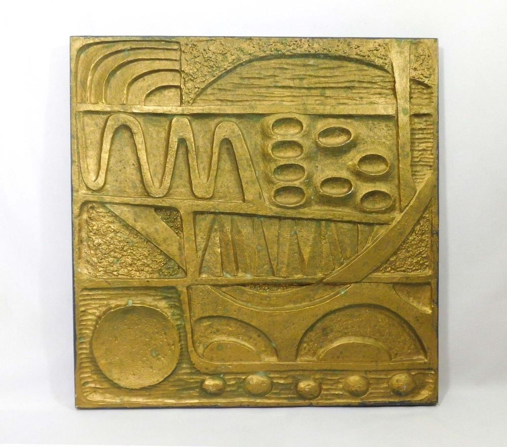 Vintage modernist bas-relief 2-sided polymer gold/b & w wall art ...