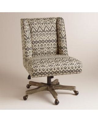 World Market Driftwood Ikat Ava Upholstered Office Chair From Cost Plus