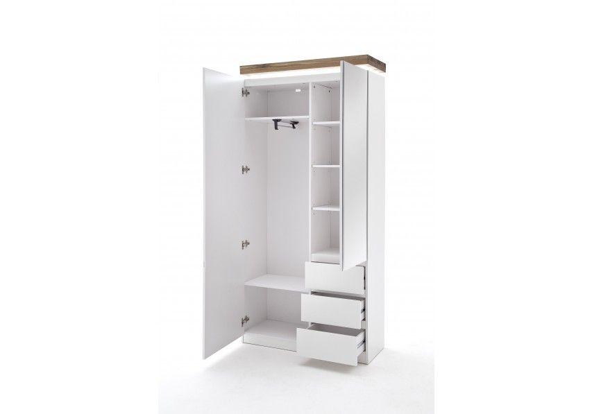 4102659 Garderobenschrank weiss matt/ Asteiche massiv