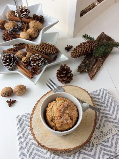 winterlicher Apfel Marzipan Kuchen in a Mug, Tassenkuchen, Winter, Rezeptidee, schneller Kuchen, Apple Marzipan Mug Cake