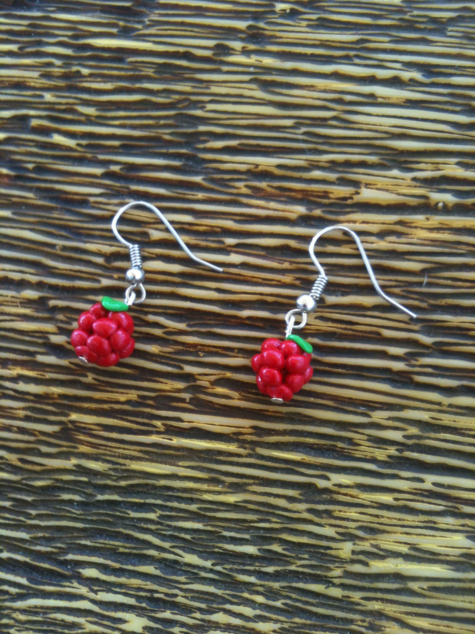 pendientes frambuesa fimo - berry earrings polymer clay fruit
